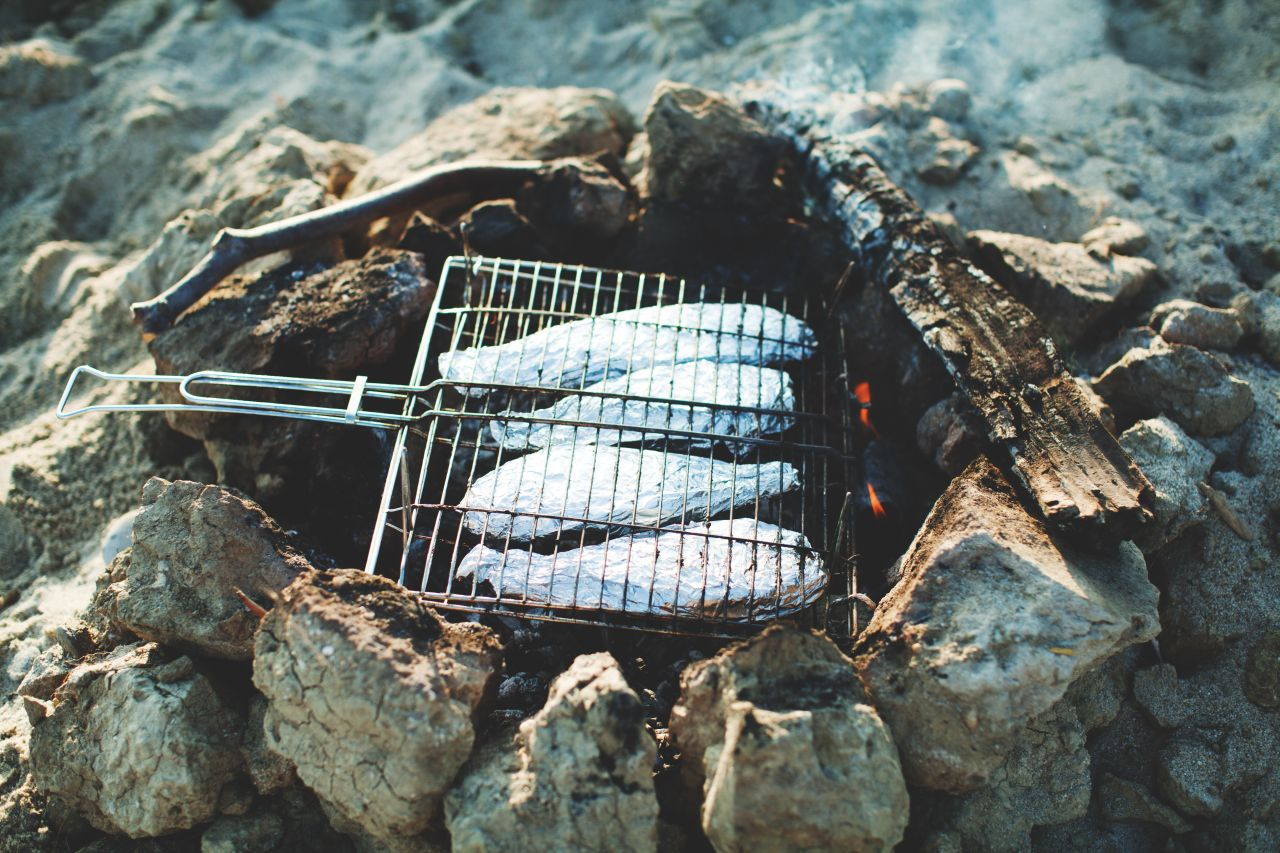 Grill, Fisch, Lagerfeuer