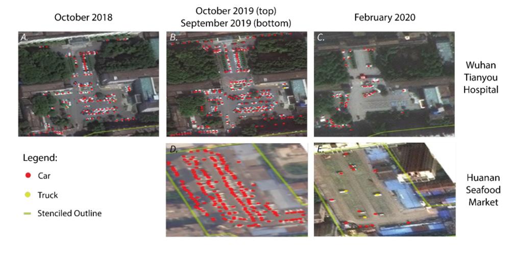 Satellitenbilder chinesischer Krankenhausparkplätze
