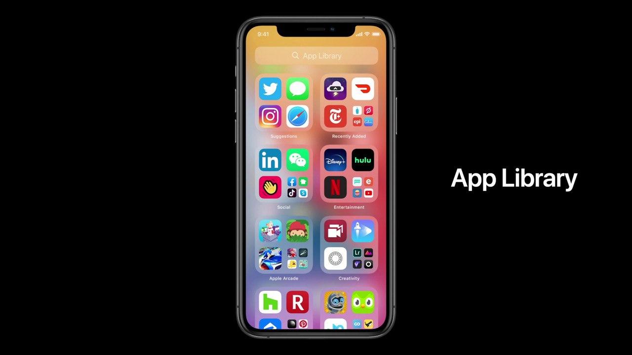 Die App Library sortiert Apps automatisch nach Kategorien.