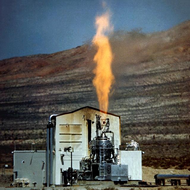 Testlauf des nuklearen Kiwi-A-Triebwerks 1960 in Nevada Test Site bei den Jackass Flats in Nevada.