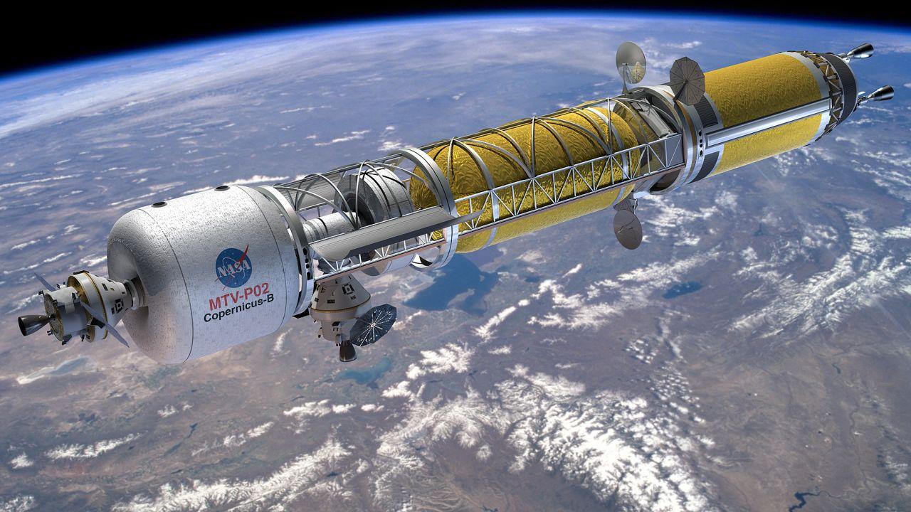 Konzept eines Mars-Raumschiffs mit nuklear-thermischem Antrieb