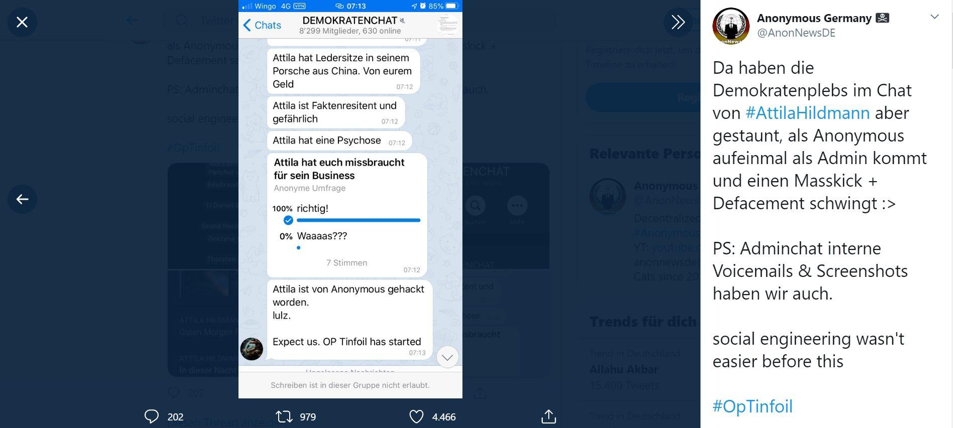Anonymous Germany hackt die Telegram-Gruppe von Verschwörungsmystiker Attila Hildmann.