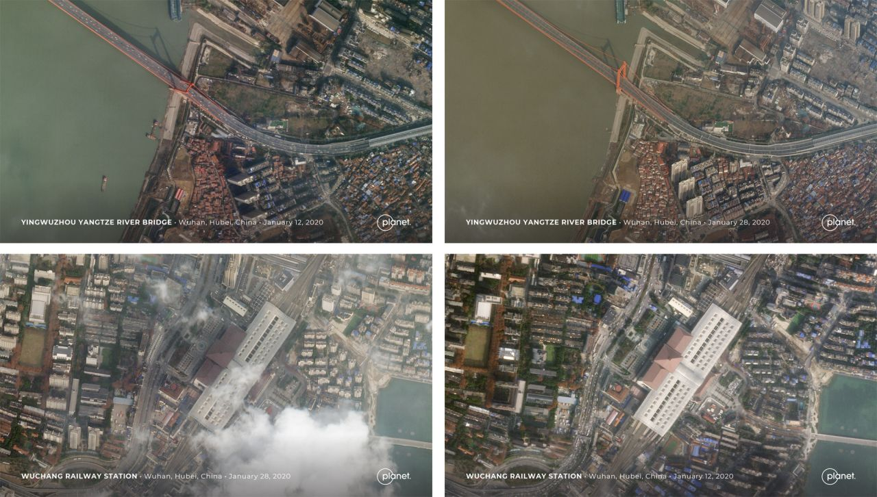 Vorher-nachher-Bilder aus Wuhan, China