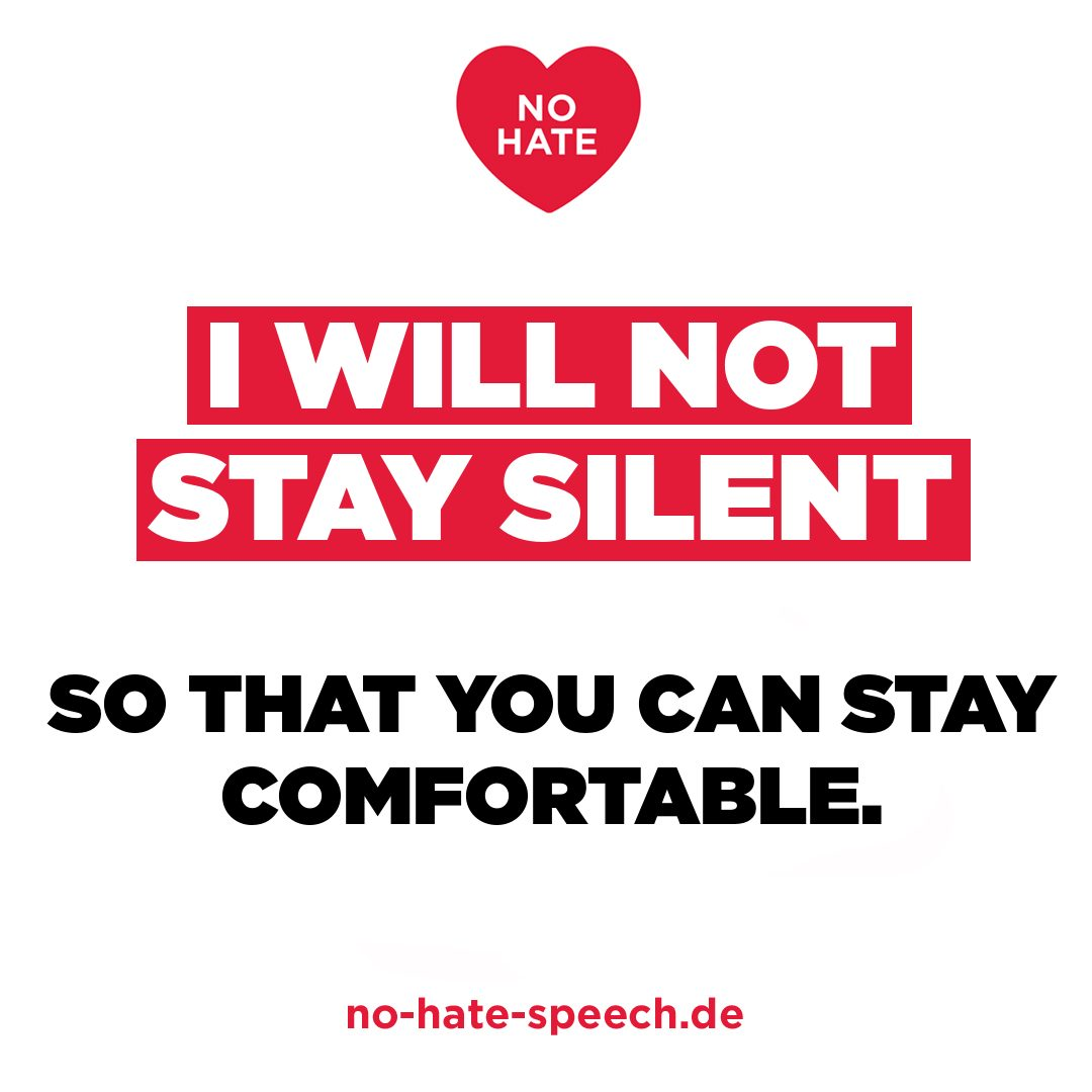 """Ein Spruch gegen Hassrede der Jugendbewegung """"No Hate Speech Movement""""."""