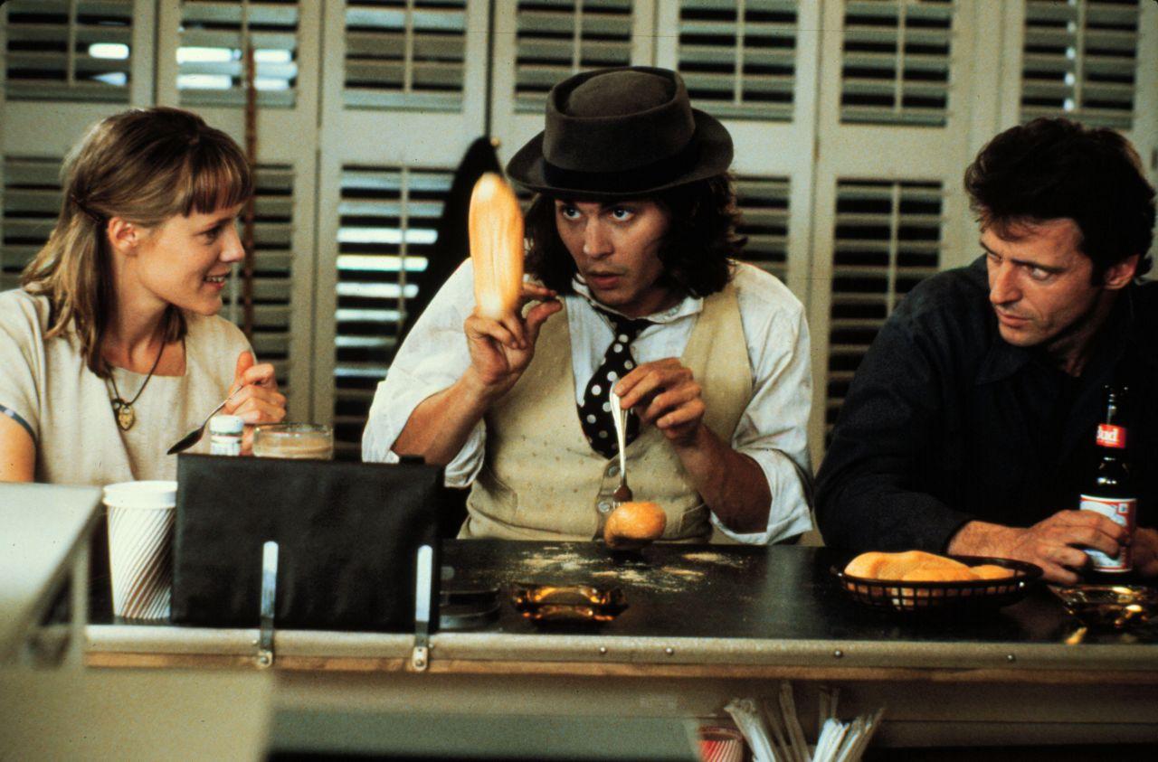 "Filmszene aus ""Benny & Joon"" mit Mary Stuart Masterson, Johnny Depp und Aidan Quinn"