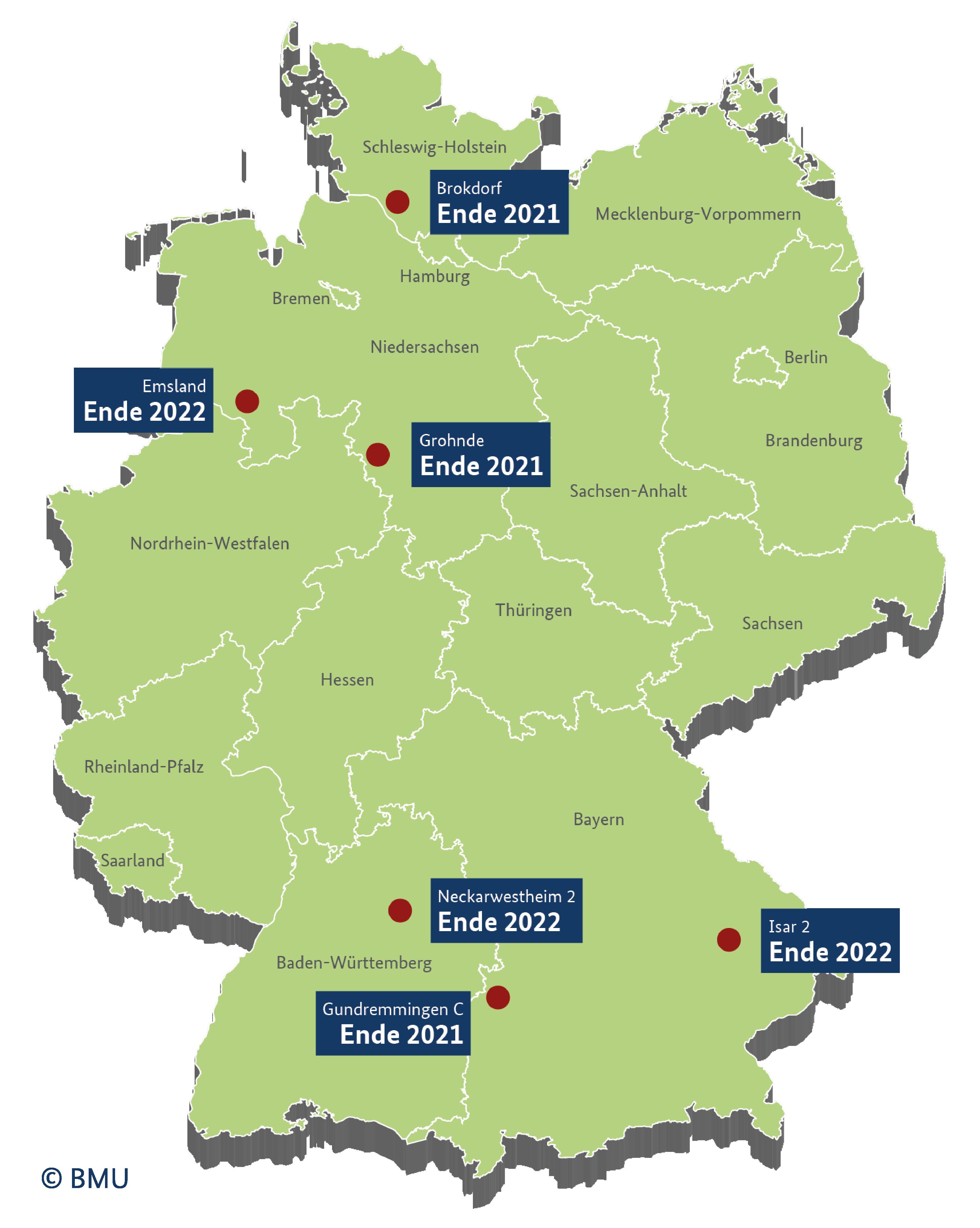 Übersicht aller aktiven Atomkraftwerke in Deutschland