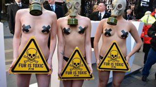 Peta Demonstrantinnen auf der Londonder Fashion Week gegen Pelz