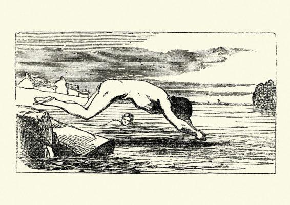 Historisches Bild von Mann am Wasser