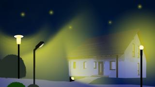 Grafik Straße mit Lichtverschmutzung