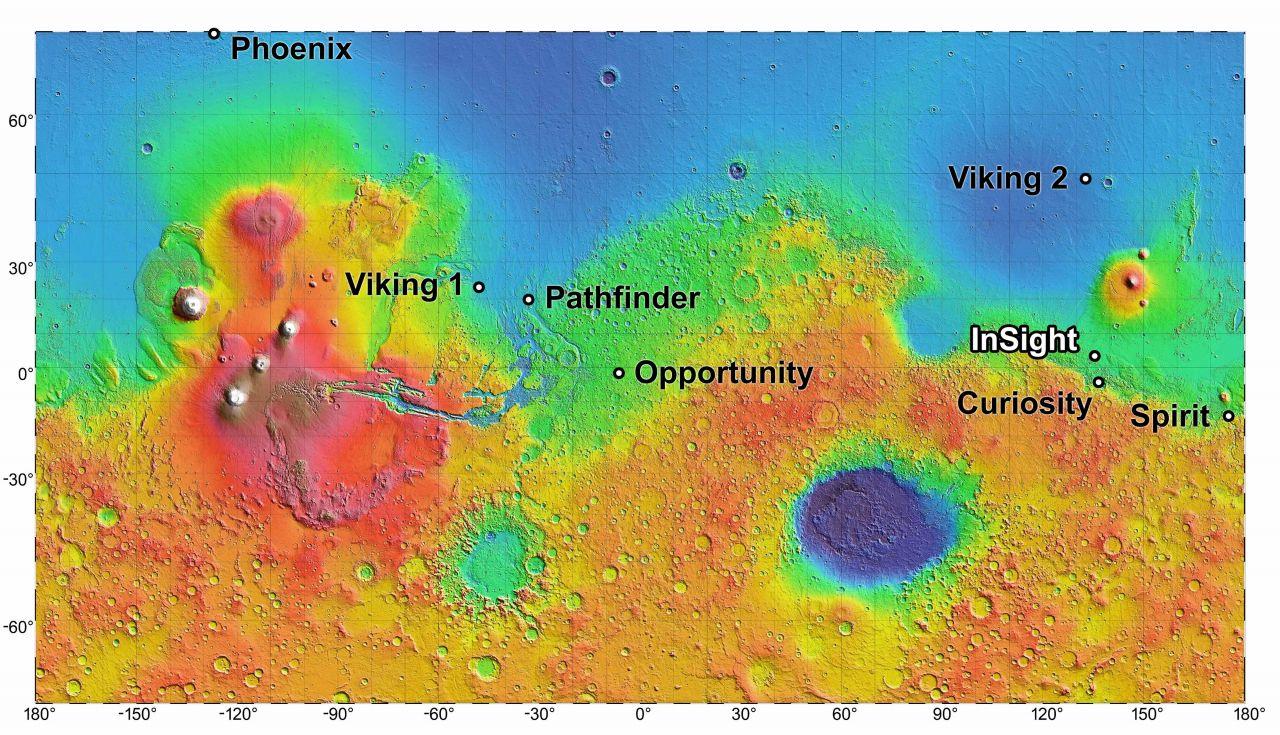 Landegebiete von Marsoberflächen-Missionen der NASA