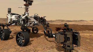 Der Perseverance-Rover beim Bohren