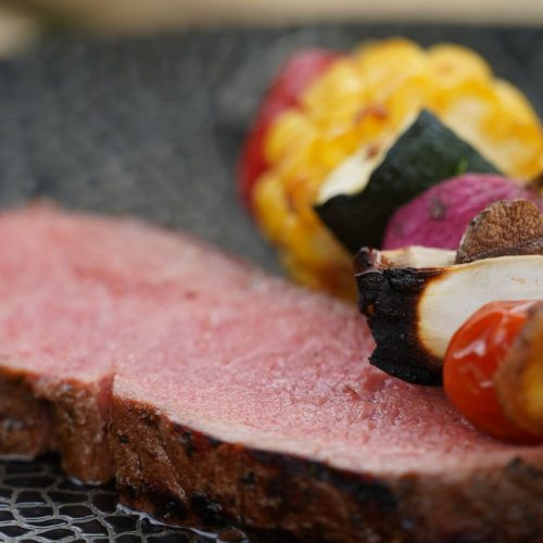 Roastbeef und Gemüsespieße ganz einfach selber machen.