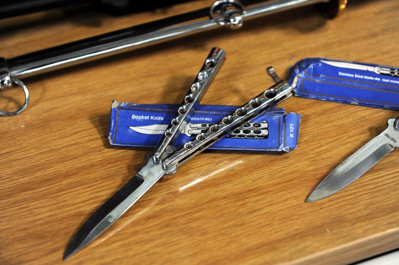Butterfly-Messer aufgeklappt
