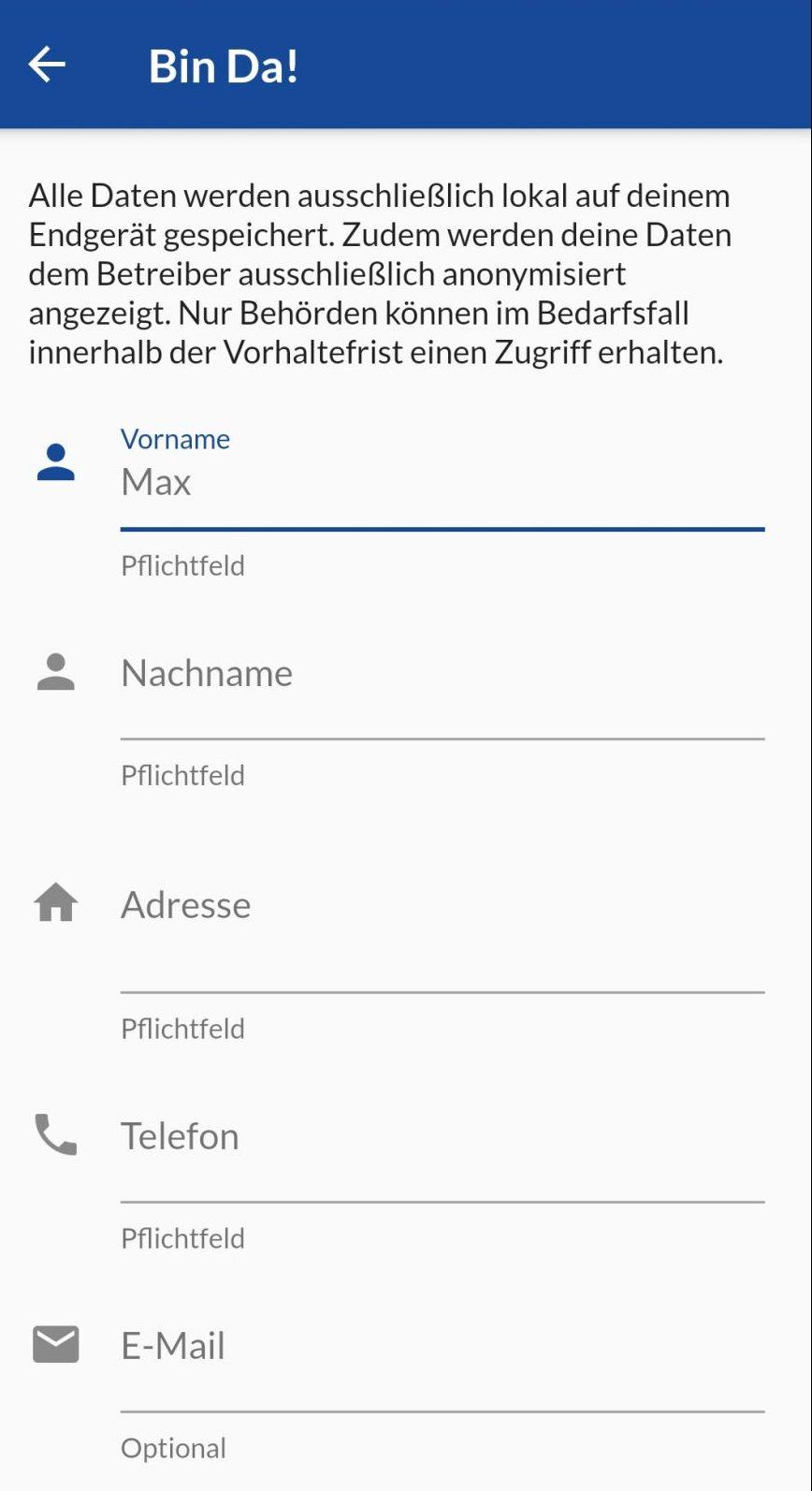 Diese Daten müssen Nutzer der Bin Da!-App angeben. Dem Betreiber werden sie nur anonymisiert angezeigt.