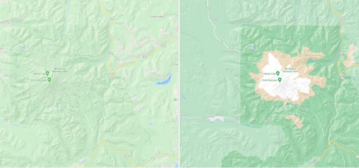 Google Maps Mount Rainier-Nationalpark