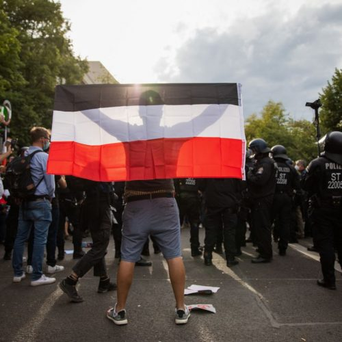 Ein Mann mit Reichsflagge auf einer Demonstration.