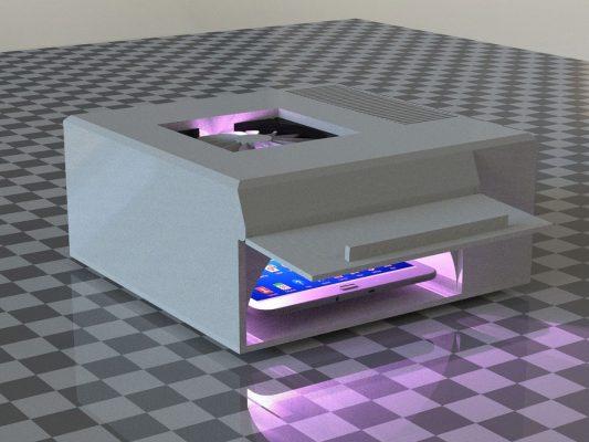 Ein Gerät des Fraunhofer Instituts desinfiziert Oberflächen mit UV-Licht.