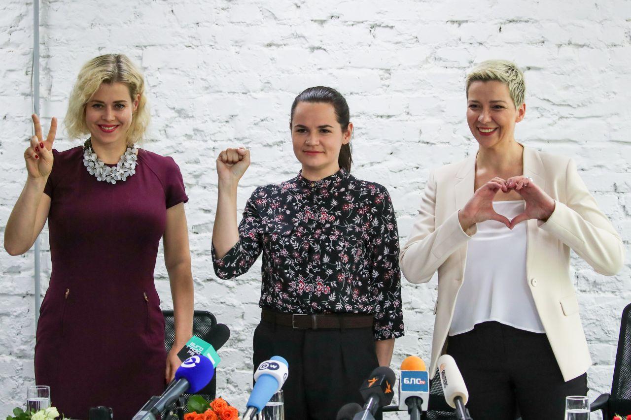 Die drei Opppositionsführerinnen auf einer gemeinsamen Pressekonferenz.