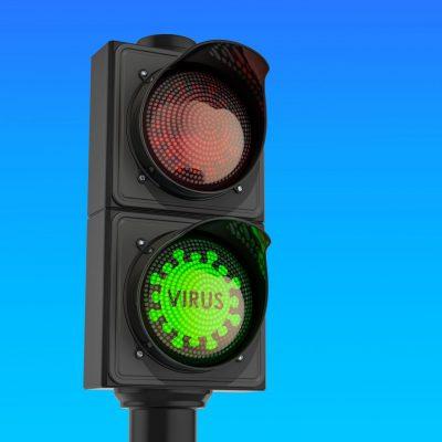 Ampel mit grünem Virusschild