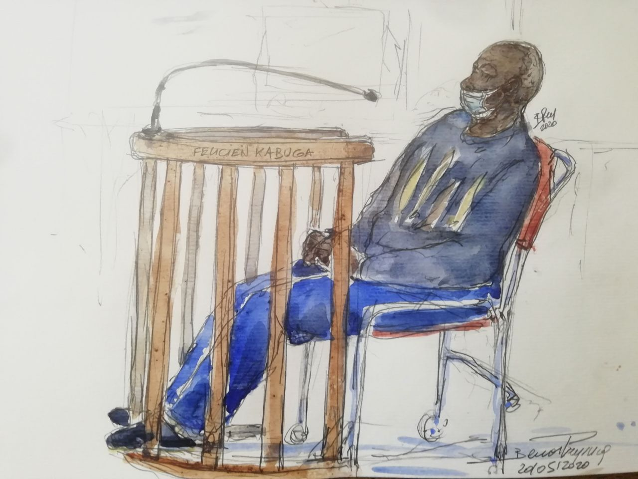Zeichnung von Félicien Kabuga vor Gericht