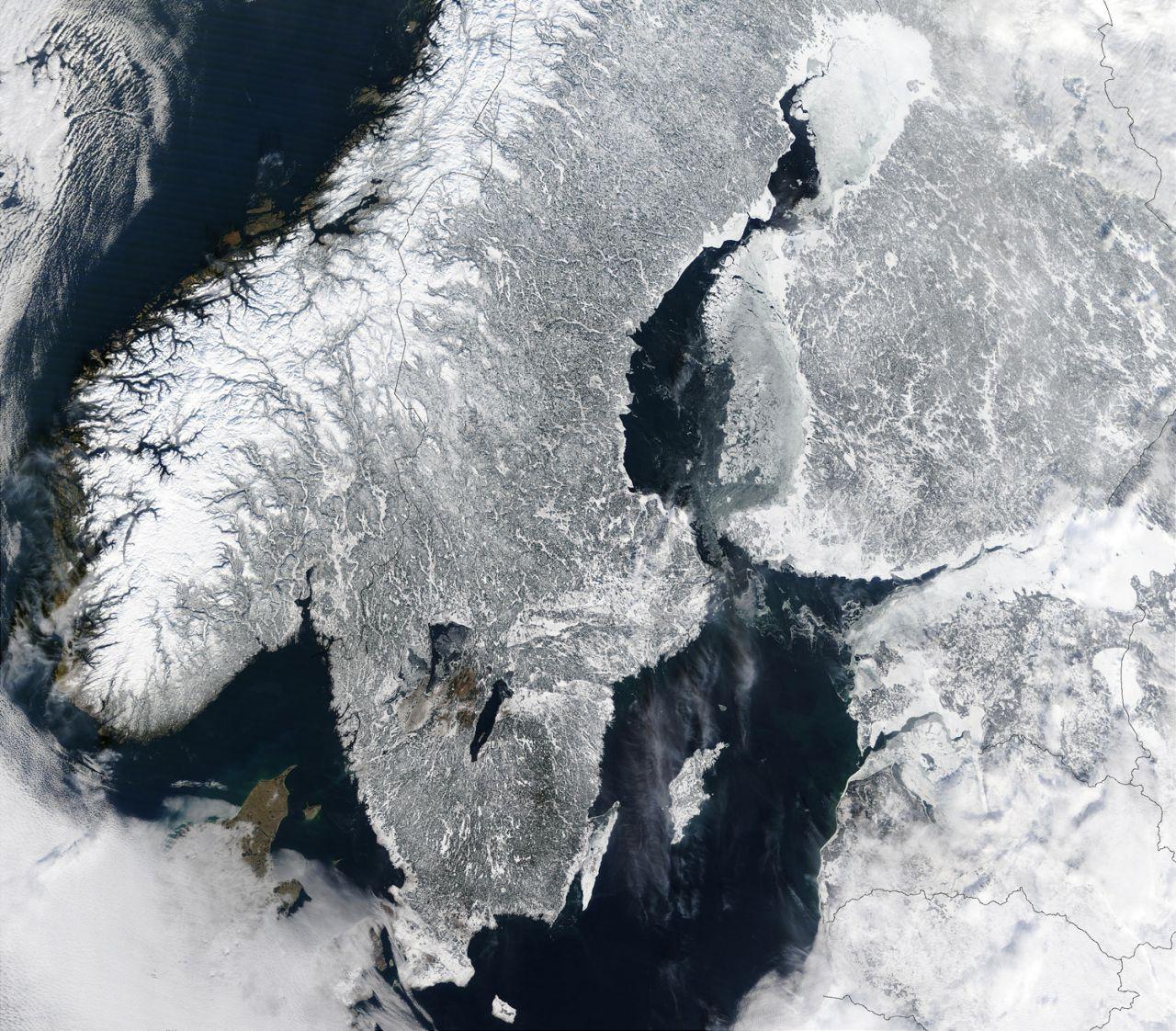 Skandinavien unter Schnee