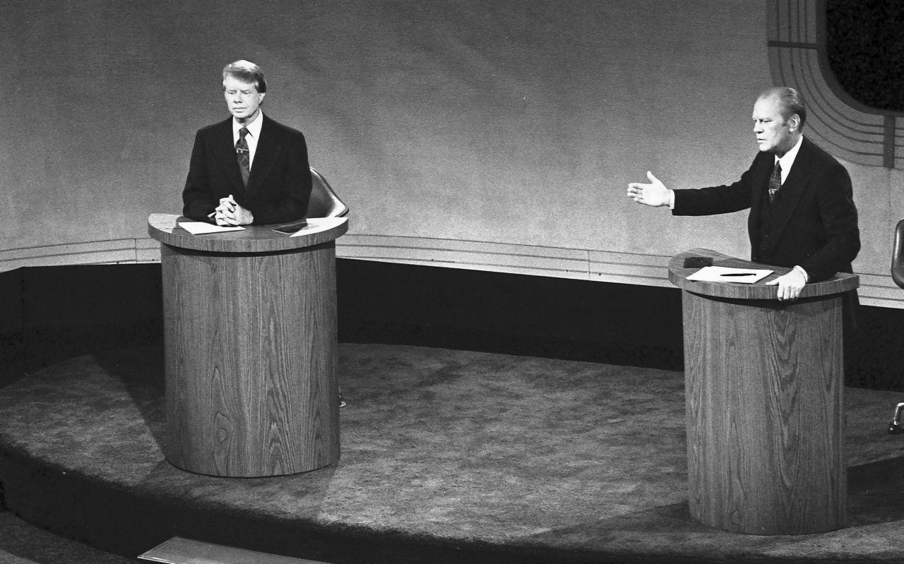 Gerald Ford und Jimmy Carter im TV Duell.