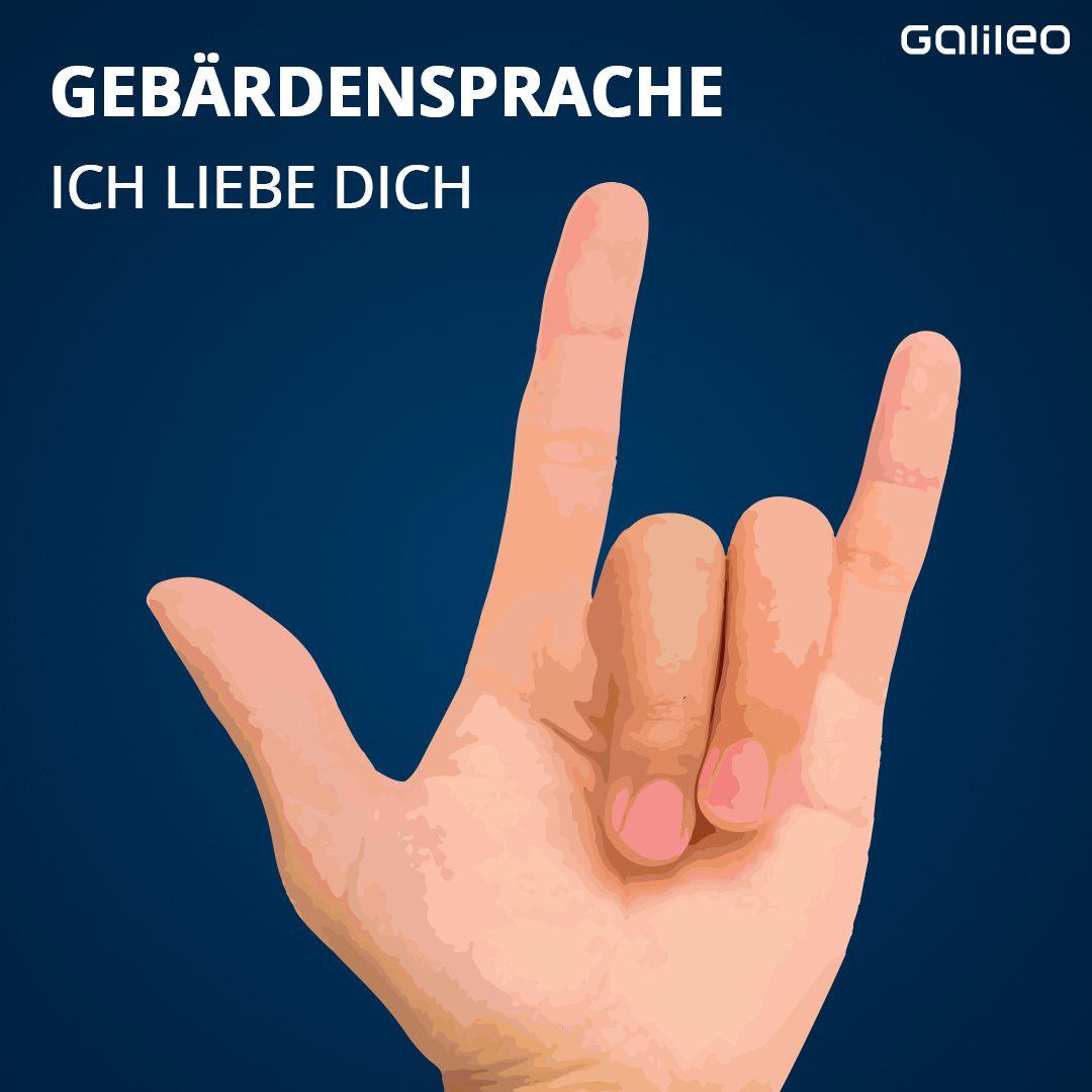 """""""Ich liebe dich"""" kannst du in der Gebärdensprache auf 2 verschiedene Arten ausdrücken: Zum einen, indem du die einzelnen Wörter als Gebärden benutzt. """"Ich"""" = Zeige mit dem Zeigefinger auf dich selbst. """"Liebe"""" = Verschränke deine Arme vor der Brust. """"Du"""" = Zeige mit dem Zeigefinger auf eine andere Person. Oder aber du machst das sogenannte ILY-Gebärde (englisch:""""I love you"""")."""