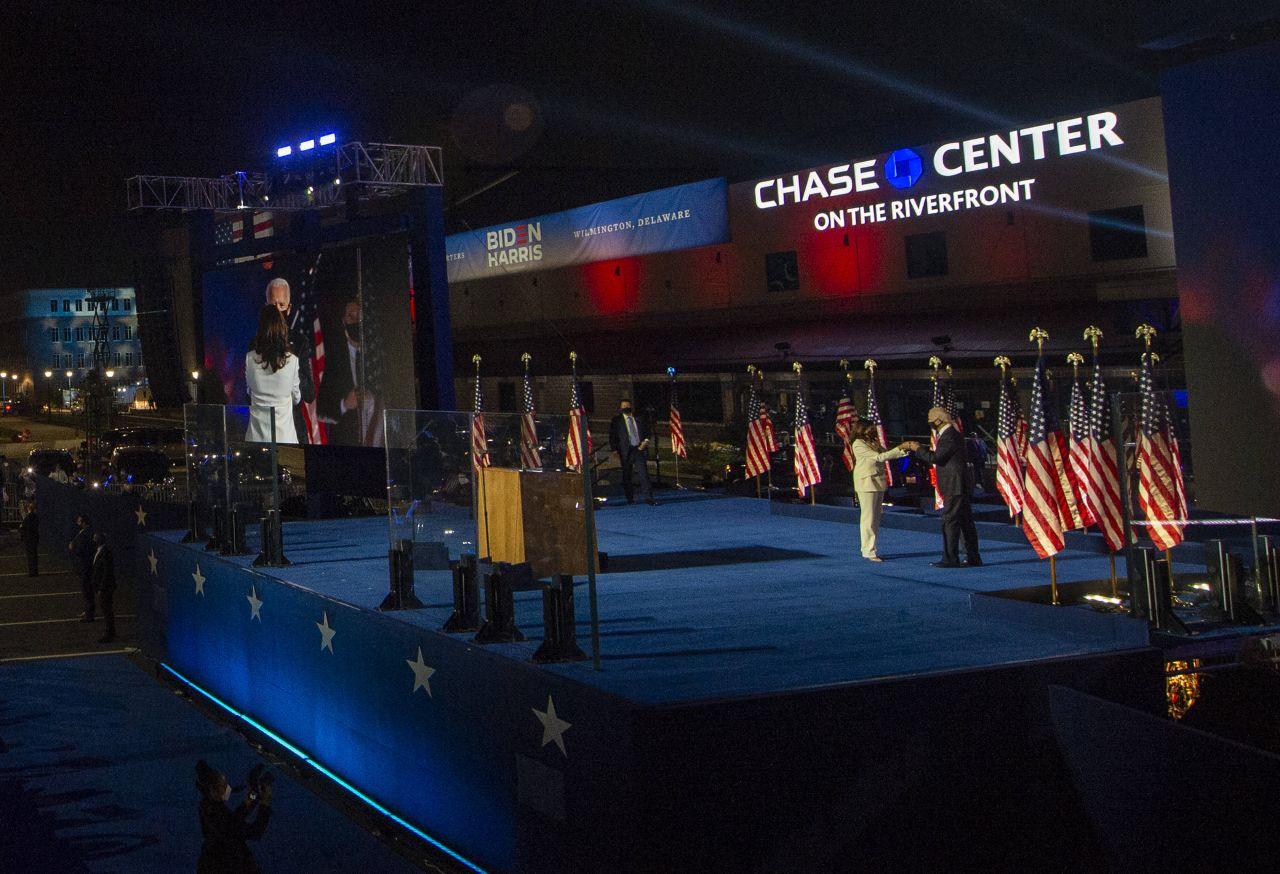 USA, Wilmington am 8. November: Joe Biden und Kamala Harris feiern den Sieg bei der US-Wahl 2020.