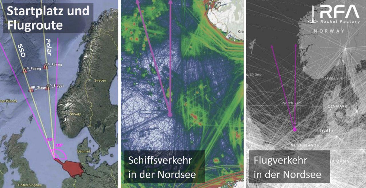 Flugrouten von einem Raketen-Startplatz in der Nordsee