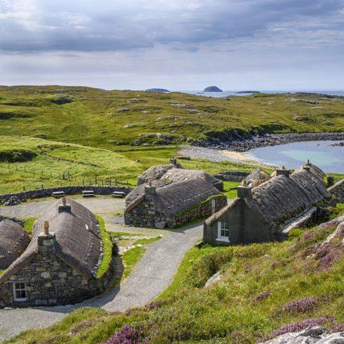 Steinhäuser auf den Western Isles