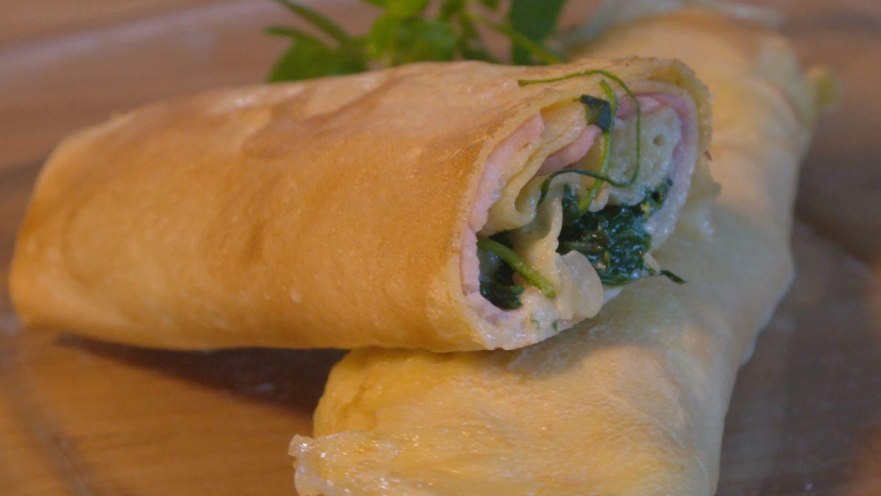 Crêpes mit Spinat-Käse-Füllung