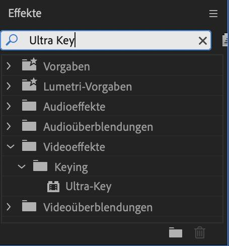"Jetzt brauchst du den Effekt ""Ultra Key""."