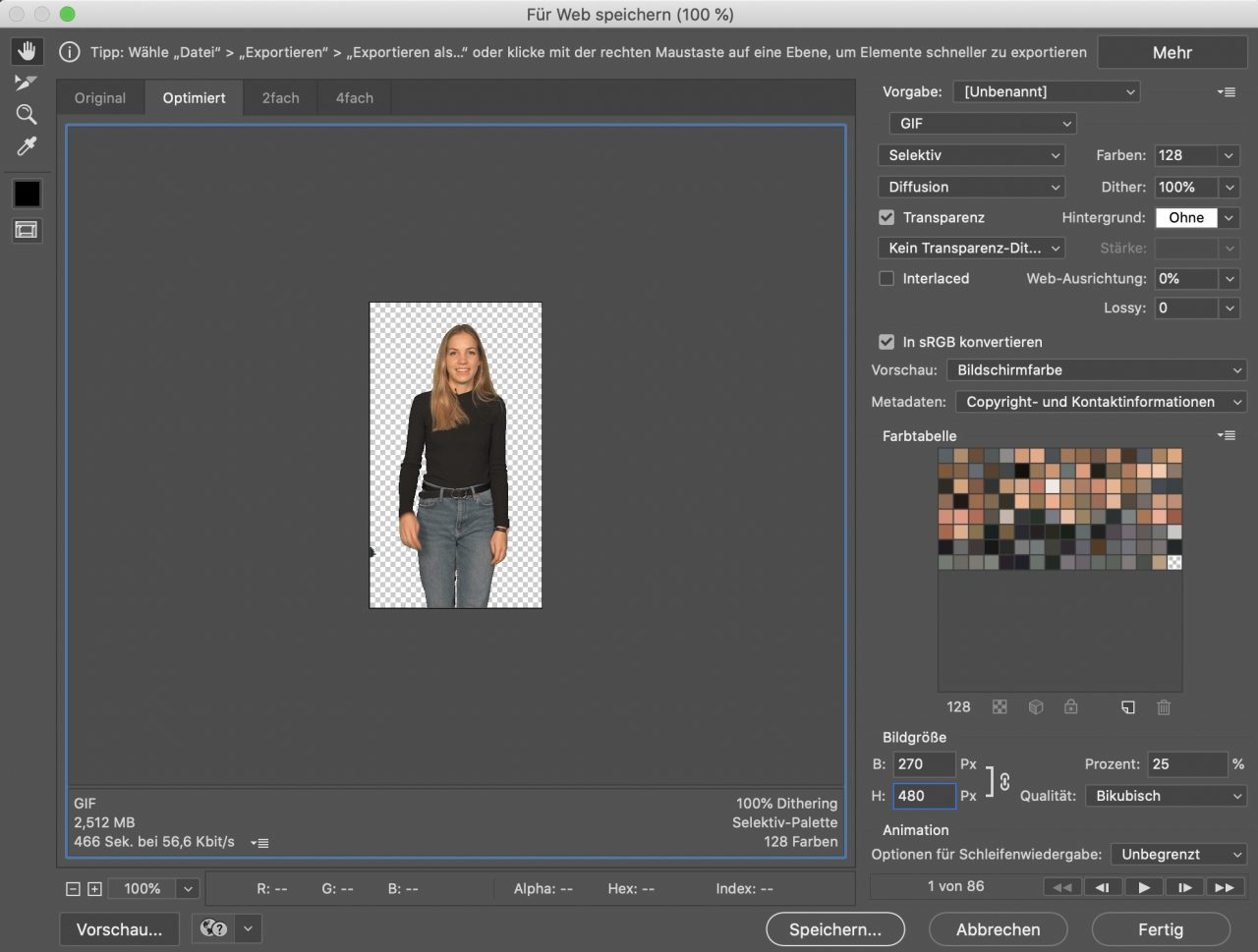 Dann GIF lädt viel schneller, wenn es kleiner ist.