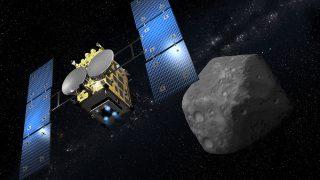 Hayabusa 2 vor dem erdnahen Asteroiden Ryugu