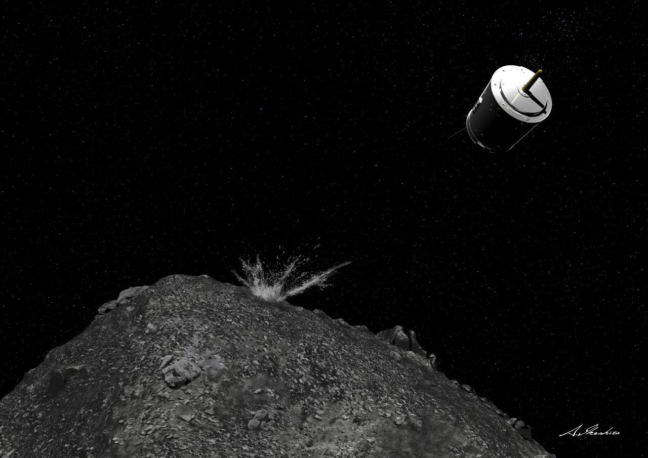 Raumsonde Hayabusa 2 schießt ein Projektil ab.