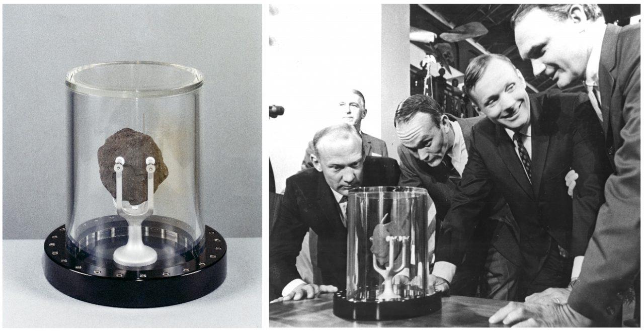 Die Apollo-11-Astronauten bei der Begutachtung einer Gesteinsprobe vom Mond:
