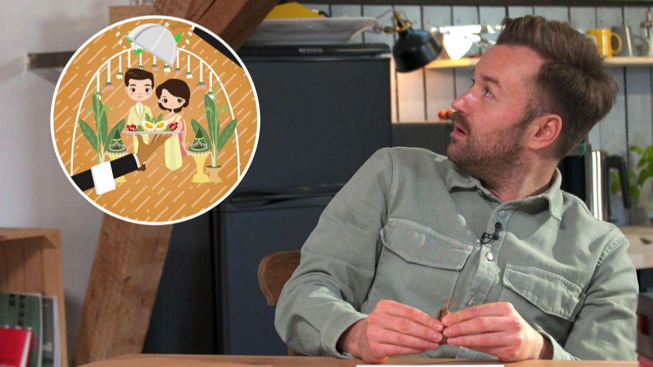 Martin denkt nach. Neben ihm eine Grafik, worauf ein paar und eine Speise abgebildet ist.