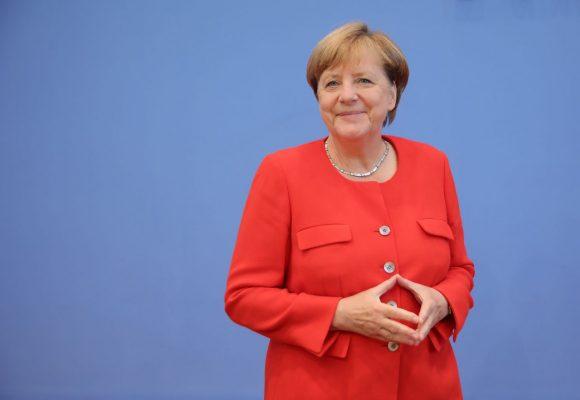 Bundeskanzlerin Angela Merkel bei einer Bundespressekonferenz 2017.