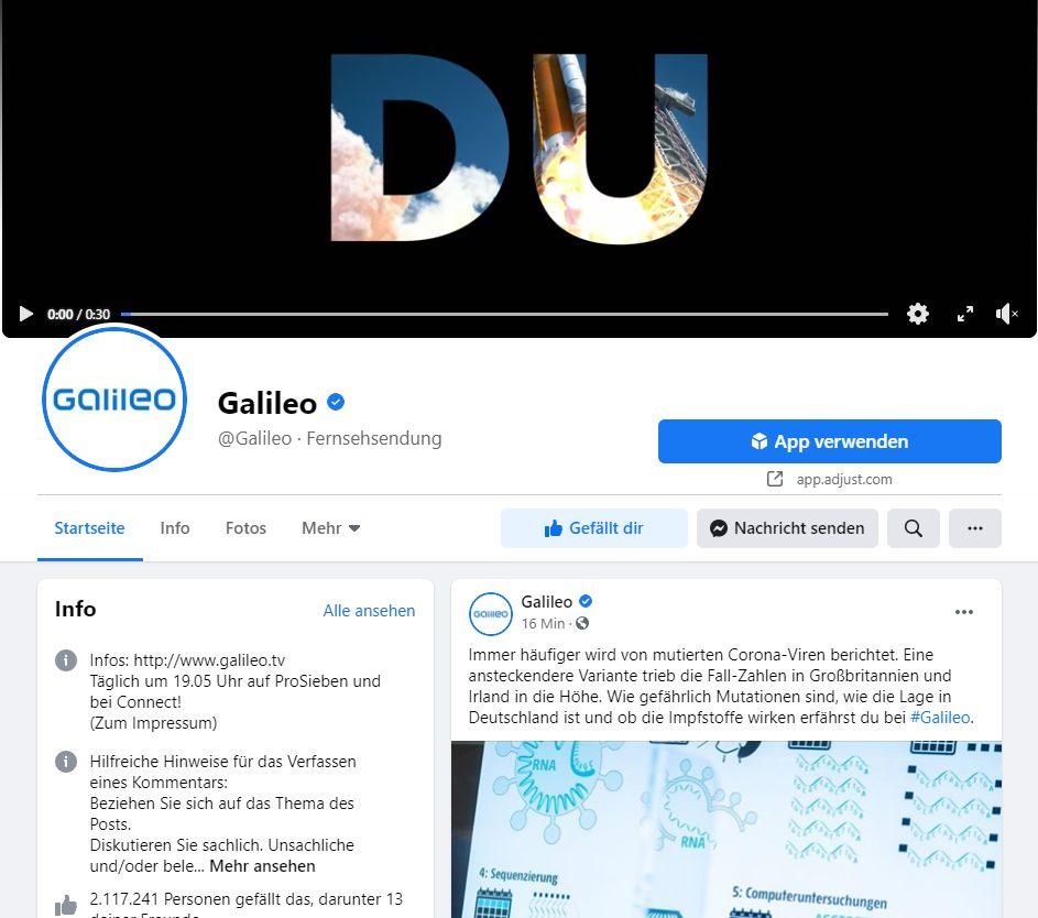 Galileo Facebook Account