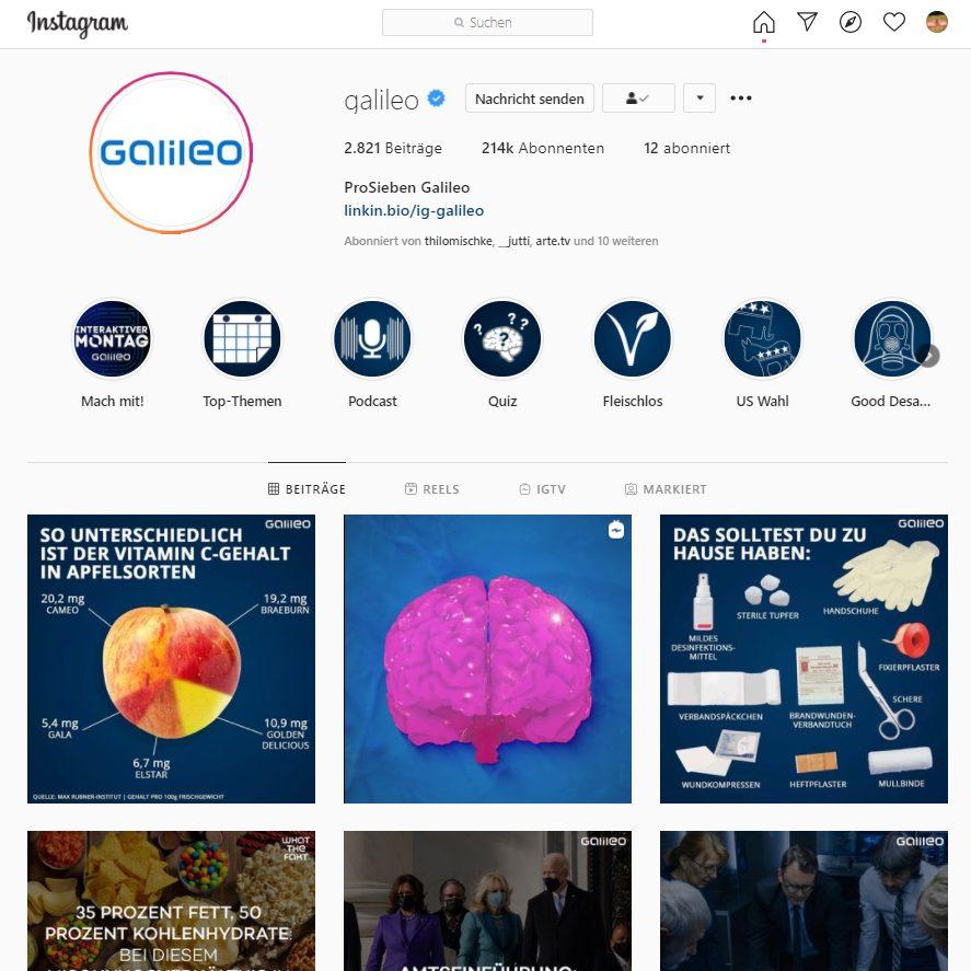 Galileo Instagram Kanal