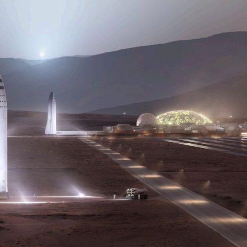 So stellt es sich Elon Musk vor, wenn seine Starship-Flotte auf dem Mars gelandet ist.