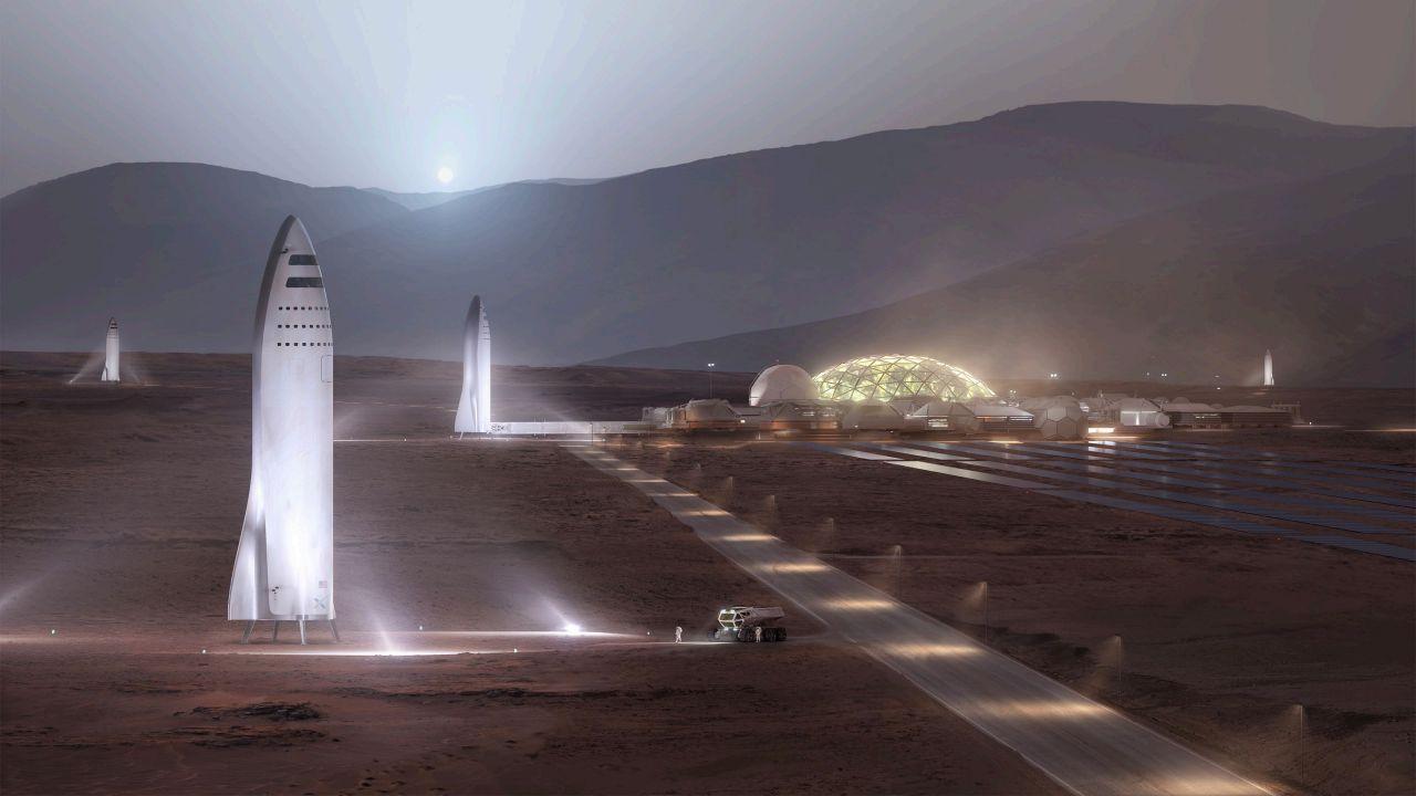 Illustation des Starship auf dem Mars