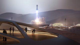 SpaceX Blick aus Mars-Base