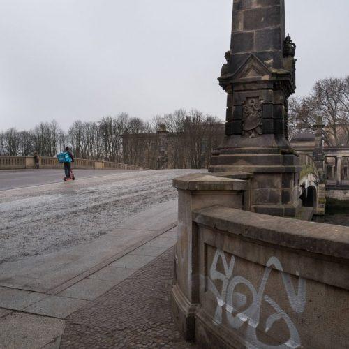 Berliner Friedrichsbrücke verlassen im Lockdown