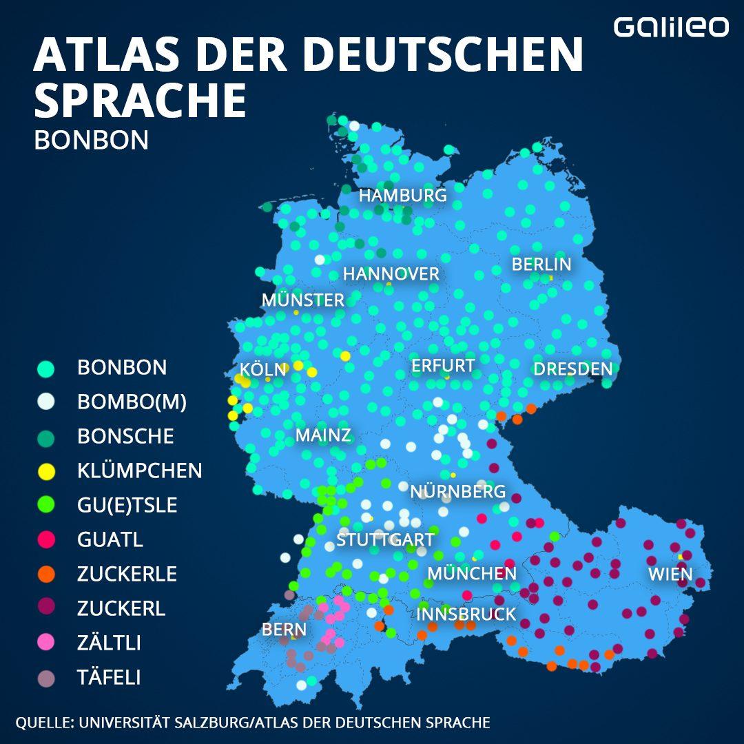 """Grafik: Dialekte für """"Bonbon"""""""