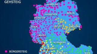 """Grafik: Dialekte für """"Gehweg"""""""