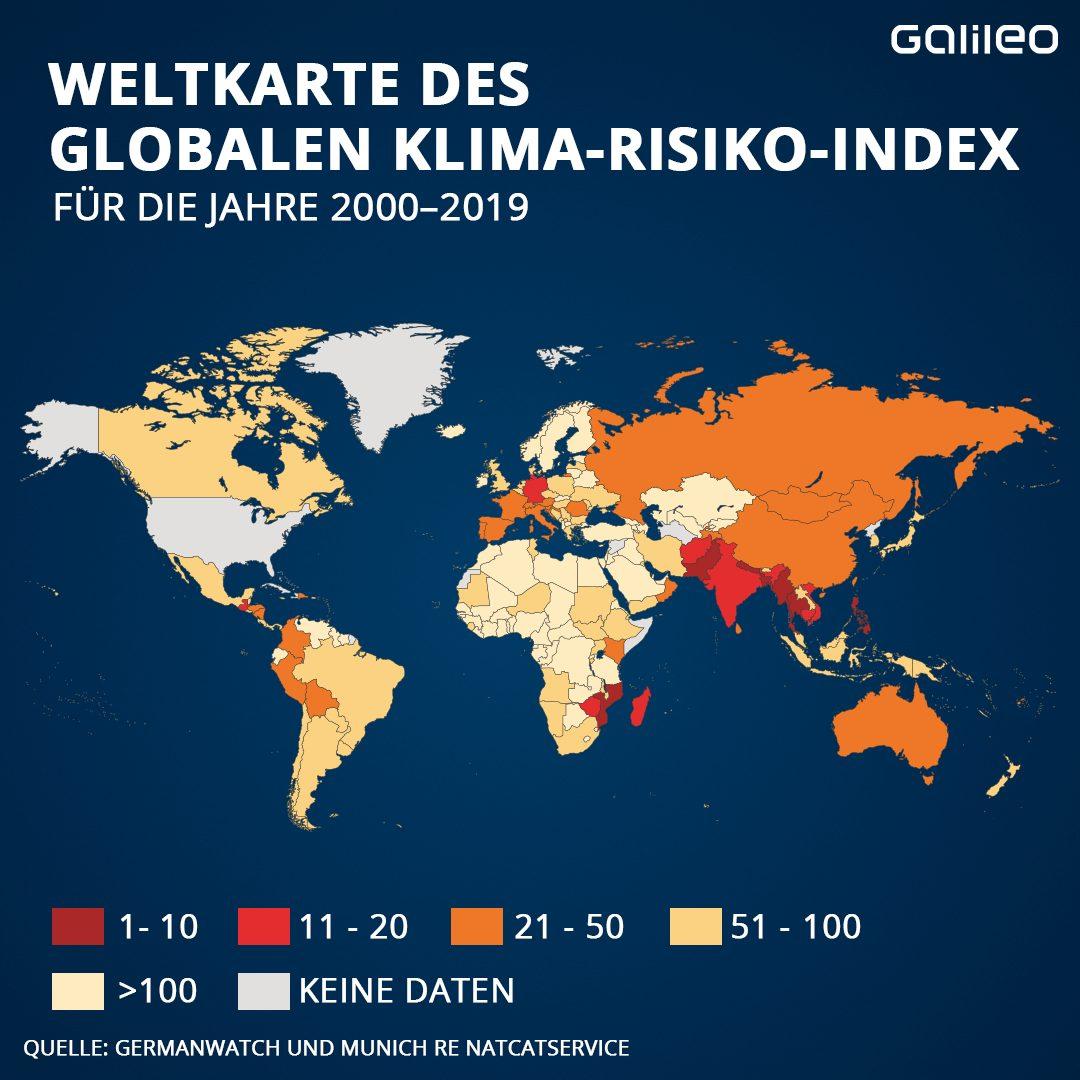 Weltkarte des globalen Klima-Risiko-Index für die Jahre 2000-2019
