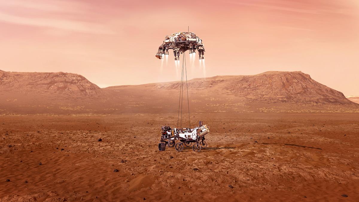 Sky Crane Manöver von NASA Rover Persevrance