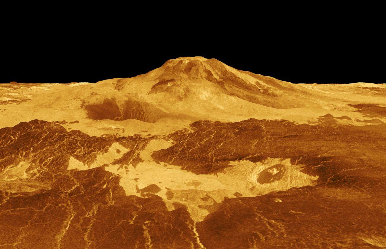 Radarbild der Venusoberfläche mit dem Mons Pia