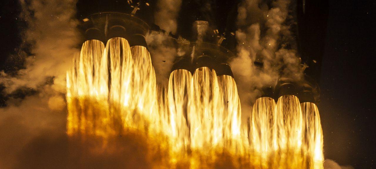 Triebwerke der Falcon-Heavy-Rakete